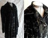 60s Coat //  Vintage 1960's Dark Green Crushed Velvet Coat Size M charcoal green