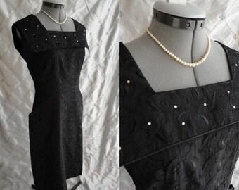 "50s Dress  /  Vintage 1950's Black Taffeta Eyelet Dress with Rhinestone Collar Size M L 30"" waist metal side zipper sleeveless"