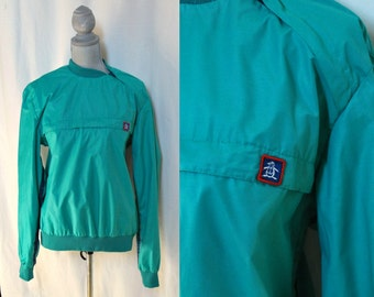 Vintage 80's MUNSINGWEAR Grand Slam Athletic Pullover Green Windbreaker, Medium, Vintage Original Penguin, Spring Summer Sports