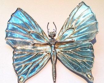 Huge vintage sergio bustamante butterfly woman brooch //dali //mexican silver //artist //rare
