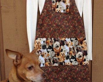 Dog Apron, Adult Dog Apron, Pocket One Piece Apron, Dog Pocket Apron, Four Pocket Apron, Brown Dog Print Apron, Woman's Dog Apron