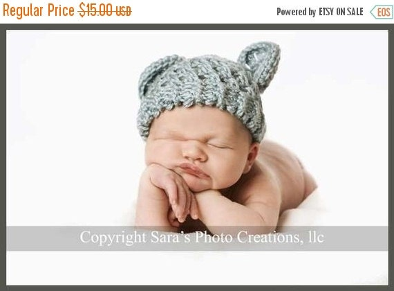 ON SALE Crochet Baby Hat, Infant Winter Hat, Hat with Ears, Baby Boy Hat, Infant Winter Hat, Baby Hat, Newborn Hat, Country Blue, MADE To Or
