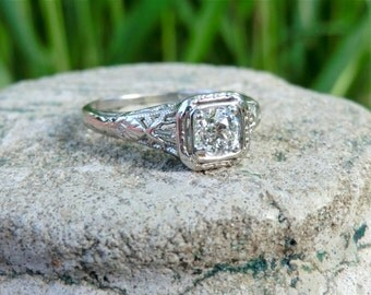 Art Deco European Cut Diamond Ring White Gold Engagement Wedding Ring .40 Diamond Color H VS2