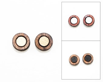 Round Wood Stud Earrings w/ Inset - Modern Laser Cut Jewelry (Bocote, Rosewood, Padauk) Gifts for Her