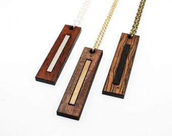 Modern Wood Pendant - Laser Cut Elongated Rectangle w/ Inset (Rosewood, Padauk, Bocote) Gifts for Her
