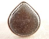 Vintage Size 6.5 Drop Shaped Gray Quartz Druzy Sterling Ring