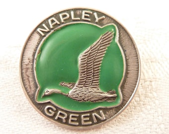 SALE ---- Vintage Round Sterling and Enamel Napley Green Gun Club Brooch