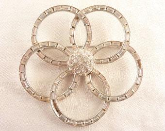 Huge Bogoff Vintage Interlocking Rings Baguette Rhinestone Silver Tone Designer Brooch