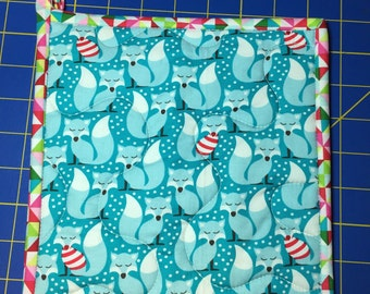 Insulbrite Quilted Potholder: Holiday Fox and trees, hostess gift, ready to ship, turquoise and red
