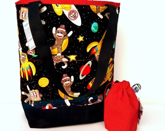 Studio Tote Extra Large Knitting Project Crochet WIP Tote Bag and Tot - Space Monkeys