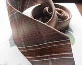 Vintage Tie * Men's Italian Tie * Brown Orange and Neutrals * Polyester Tie