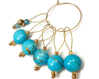 Knitting Stitch Markers Snag Free Aqua Blue DIY Knitting Tools Gift for Knitter Craft Supplies