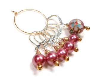 Removable Stitch Markers Crochet Row Markers Mauve Pink Cloisonne Locking Knitting Supplies DIY Crafts