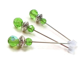 Handmade Cross Stitch Counting Pins Marking Pins Spring Green Needlepoint DIY Crafts