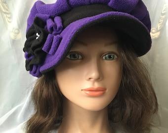 Purple black fleece newsboy cap  Warm winter hat . Tatiana123
