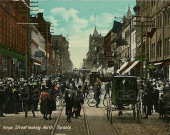 Vintage Postcard - 1909 Toronto Postcard - Yonge Street looking North - Memorabilia