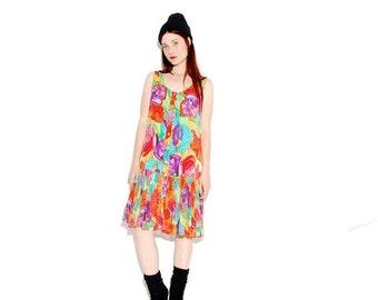 WTF HALF OFF Floral 90s Dress // colorful floral print, rave hippie festival dress, skater dress, vintage dress, sun dress, 90s grunge 90s c