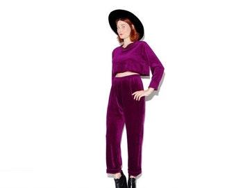 OMG HALF OFF Crop Top 2 piece set matching set outfit small medium / purple plum Velvet two piece high waist high waisted pants harem pants