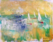 Abstract modern art, sailboat painting, modern contemporary art, sea and ocean sailing race painting with yellow and red, Russ Potak