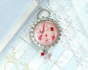 Clock Necklace Paris Necklace Eiffel Tower Necklace Bottle Cap Necklace Paris Jewelry Eiffel Tower Necklace
