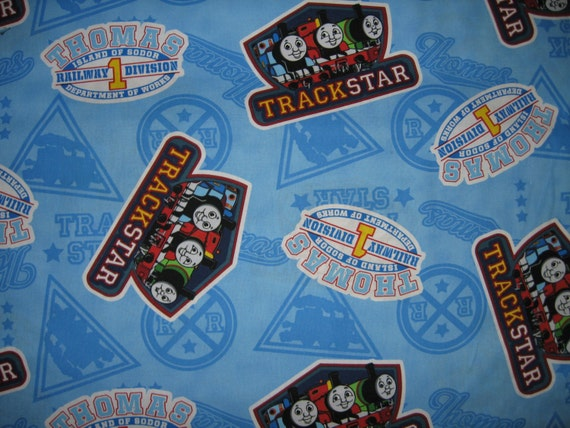 Thomas the train cotton fabric by the yard tank trackstar for Train fabric by the yard