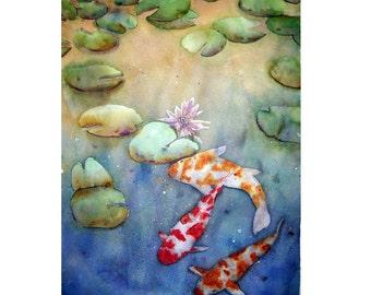 Koi Fish And Lily Pads Fine Art Original Large Acrylic Water Media Painting ~ Wall Decor- Aquatic Life - 22 x 30 Painting