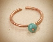Adjustable solitaire turquoise and copper stacking ring