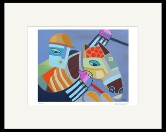 Horse Racing Jockey and Horse Print from Original Oil Painting / Signed Numbered by Artist Modern Equestrian Gifts Horse Racing Art