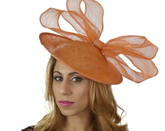 Orange Kelaa Fascinator Hat for Kentucky Derby,Melbourne Cup, Ascot (other colors)