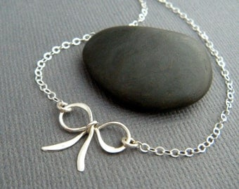 small silver bow necklace. sterling silver ribbon pendant petite bowtie tiny mini simple delicate dainty forget me knot charm gift her 5/8""