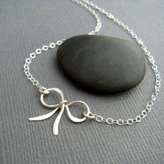 """small silver bow necklace. sterling silver ribbon pendant petite bowtie tiny mini simple delicate dainty forget me knot charm gift her 5/8"""""""