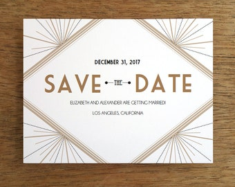Printable Save the Date Card - Save the Date Template - Instant Download - Save the Date PDF - Art Deco Save the Date - Great Gatsby - PDF