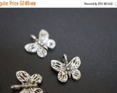 SUMMER SALE Antique Silver Plated Monarch Butterfly Charm Pendants - 14mm - 10 pcs