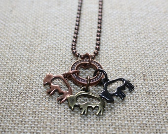 Buffalo Charm Necklace, Copper Buffalo Necklace, Ball Chain, Charm Necklace, Buffalo Jewelry, Buffalo Necklace