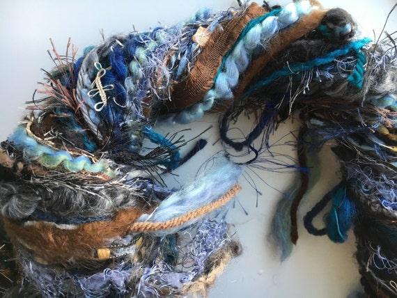 Art Yarn, Diva DeStash Custom Blend Scarf Skein Tied Yarn, 94 yards, mixed fiber hand-tied novelty yarn, scrapbooking, blue brown yarn, ribb