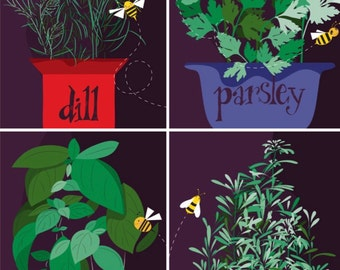 Set of 4 Art Print - Original Art Print - Herb Decor - Herb Illustration - Herb Wall Hanging - herb Print - Kitchen Decor -Kitchen Art Print