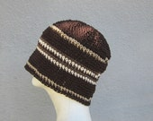 men's hemp beanie/ espresso stripe crochet- Custom Order