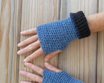 men's fingerless gloves/ heather blue wool black hemp cuff crochet
