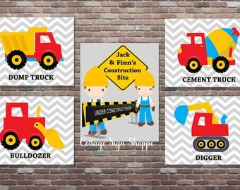 Brothers Construction Wall Art,Personalized Construction Set,DIY Printable,Construction Truck Wall Art,YOU PRINT,Construction Nursery Decor