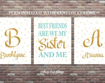Best Friends Are We My Sister And Me, Sisters Sign, YOU PRINT ,Sisters Wall Art, Best Friends Sign ,Sister Sign Set,Playroom Wall Art