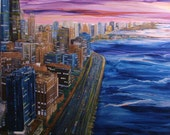 RESERVED LISTING FOR Amy Berelowitz, Chicago, Lake Michigan,Lake Shore Dr, Concrete Skyline,Sunset