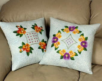 Two Elegant Throw Pillows, 16 inch Pansy Pillow Covers, Machine Embroidered, Purple and Yellow on Ice Blue Fairy Frost, Mother's Day Gift