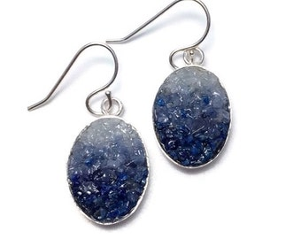 Mosaic Jewelry - Lapis, Sodalite and Angelite Mosaic Drop Earrings