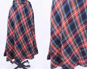 "1960s skirt vintage 60s classic multi color plaid high waist skirt XS W 24"""
