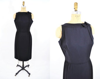 1960s dress vintage 60s black classic LBD sheath with rosette bow M/L