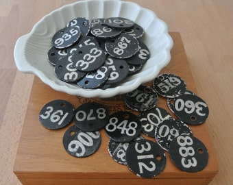 5 pcs Vintage Black Metal Tags with White Hand Painted Numbers Chippy Paint LOT