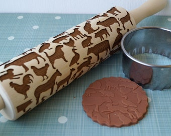 Embossing rolling pin, Farm Animals design, Cookie decorating rolling pin