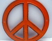 Peace Sign Orange Cast Iron Circle Wall Decor Rustic Retro Funky 70's Style Shabby Style Chic Distressed Weathered Wall Art Sign