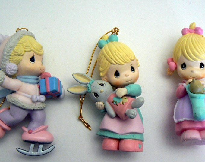 Precious Moments Christmas Ornament Lot 3 Girl Holiday Collection