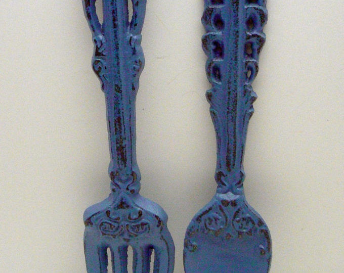 Fork Spoon Set Wall Decor Shabby Chic Periwinkle Blue Home Decor Wall Art
